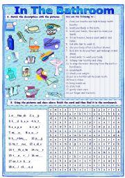 Match & Find In The Bathroom Worksheet