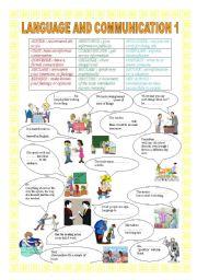 English Worksheets: LANGUGE AND COMMUNICATION 1 VOCABULARY