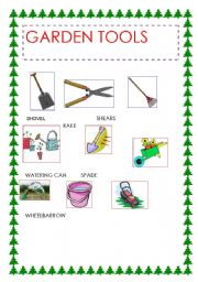 English worksheets garden tools for Gardening tools list pdf