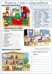 English Worksheets: There is/are + prepositions