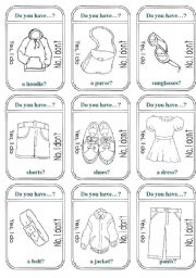 English Worksheets: Clothes Game Cards (B&W)