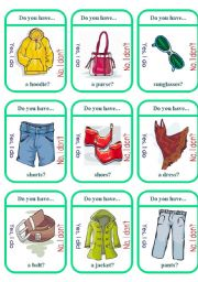English Worksheet: Clothes Game Cards (1 of 2)