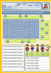 English Worksheet: MONTHS, ORDINAL NUMBERS AND BIRTHDAYS