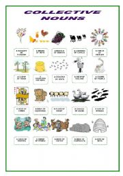 English Worksheet: Collective Nouns Pictionary