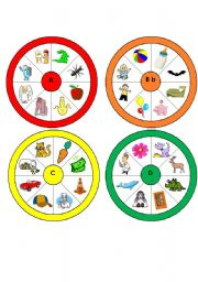 English Worksheets: Letter Wheels A-H Part 1 of a set (One Wheel for each Letter of the Alphabet)