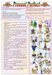 English Worksheet: Present Perfect - Grammar Guide + Exercises (fully editable)