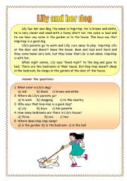English Worksheets: Lily and her dog