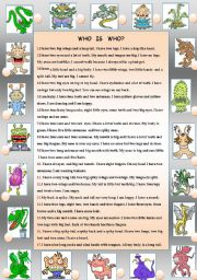 English Worksheet: MONSTERS - WHO IS WHO?