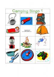 English Worksheets Camping Bingo