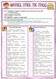 English Worksheet: Another, other, the others