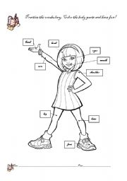 English Worksheet Girl Body Parts Coloring Page
