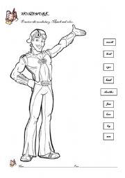 English Worksheets: body parts match and color