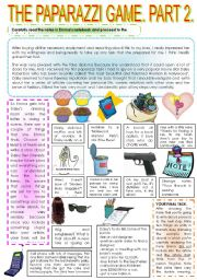 English Worksheet: THE PAPARAZZI GAME. PART 2.