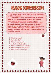 English Worksheets: reading comprehension beginner