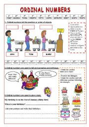 Ordinal Numbers- 2 pages of uses and exercises