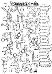 English Worksheet: JUNGLE ANIMALS MATCH