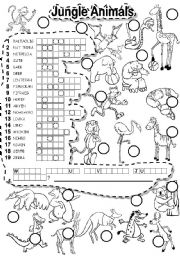 English Worksheet: JUNGLE ANIMALS PUZZLE