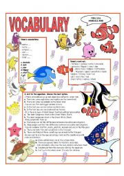 English Worksheet: RECYCLING VOCABULARY - TOPIC: FISH - SEA ANIMALS AND REPTILES. Elementary and up
