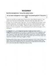 English Worksheets: boogieman scary man