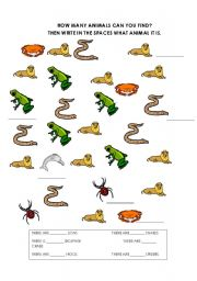 English worksheet: How many animals are there?