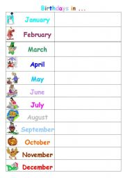 Birthday calendar: When is your birthday? / When were you born?