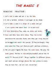 English Worksheets: The magic e -   a_e, i_e