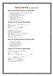 English Worksheet: BELIEVE song by Lenny Kravitz