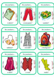 English Worksheet: Clothes Game Cards (2 of 2)
