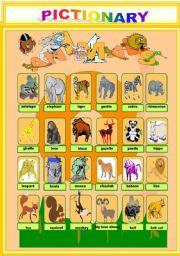 English Worksheets: PICTIONARY: ANIMALS