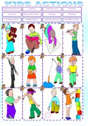 English Worksheets: KIDS ACTIONS MATCHING. PART 1