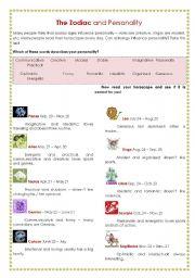 horoscope personality traits esl