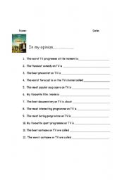 English Worksheets: TELEVISION AROUND
