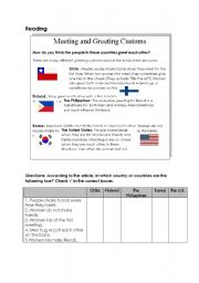 English Worksheets: Greeting Customs