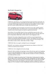 English Worksheets: cheapest car
