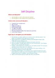 English worksheets: self discipline in kids