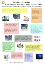 English Worksheets: Ramadan, the holy month for Muslims
