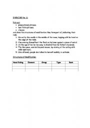 English Worksheets: Structure of modification