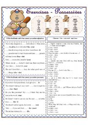 English Worksheets: EXERCISES - -  POSSESSIVES