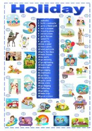 English Worksheets: Holiday Activities Matching Exercise