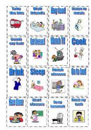 english worksheet flash cards   daily routine