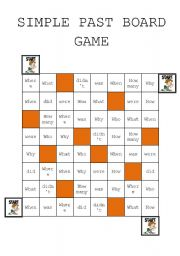 Simple Past Question Board Game - elementary and Pre-intermediate.