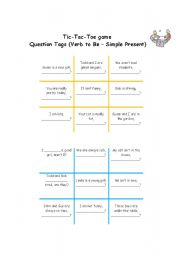 English Worksheet: Question tag tic-tac-toe game (verb to be - simple present)