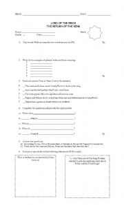 English Worksheet: The Lord of the rings worksheet
