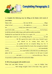 English Worksheets: Completing Paragraphs 3