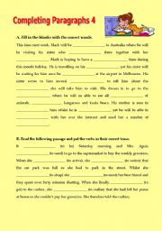 English Worksheets: Completing paragraphs 4
