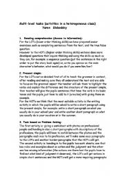 English Worksheets: Multi-level tasks (activities in a heterogeneous class)