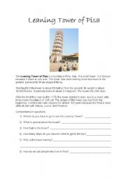 English Worksheets: Leaning Tower of Pisa