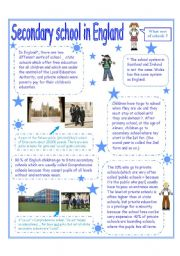 English Worksheet: Secondary school in England