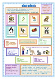 English Worksheets: Animals you can see in a zoo