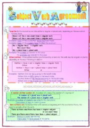 English Worksheet: subject verb agreement 3